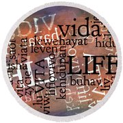 Life Letters Two Round Beach Towel