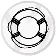 Life Preserver In Black And White Round Beach Towel