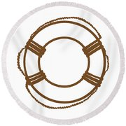 Life Preserver In Brown And White Round Beach Towel