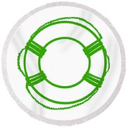 Life Preserver In Green And White Round Beach Towel
