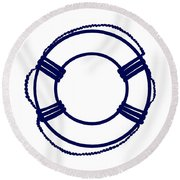 Life Preserver In Navy Blue And White Round Beach Towel