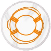 Life Preserver In Orange And White Round Beach Towel