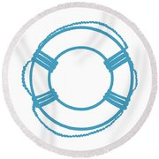 Life Preserver In Turquoise And White Round Beach Towel