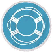 Life Preserver In White And Turquoise Blue Round Beach Towel
