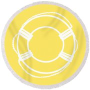 Life Preserver In White And Yellow Round Beach Towel