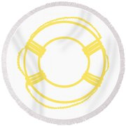 Life Preserver In Yellow And Whtie Round Beach Towel