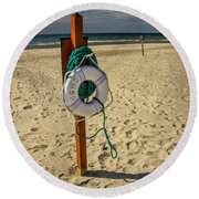 Life Preserver On The Beach In Pentwater Michigan Round Beach Towel