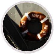 Life Ring Uss Iowa Battleship Sepia Round Beach Towel