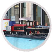 Life Size Toy Train Set In Nyc Round Beach Towel