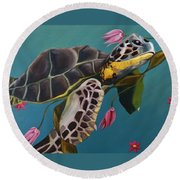 Life Under The Sea Round Beach Towel