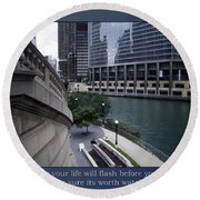 Life Will Flash Before Your Eyes Blue Background Round Beach Towel
