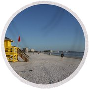 Lifeguard On Siesta Key Round Beach Towel