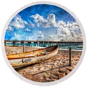 Lifeguard Boat Round Beach Towel