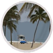 Lifeguard Station Abstract Round Beach Towel