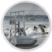 Lifeguard Station With Flying Gulls At A Lake Huron Beach Round Beach Towel
