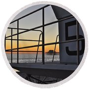 Lifeguard Tower 5  Round Beach Towel