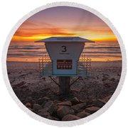 Lifeguard Tower At Dusk Round Beach Towel