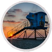 Lifeguard Tower At Sunset Round Beach Towel by Peter Tellone