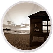 Lifeguard Tower Sunrise In Sepia Round Beach Towel