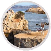 Life's A Bench Round Beach Towel