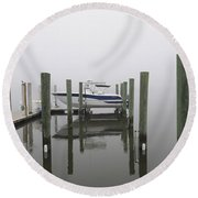 Lifted Up Into The Fog Round Beach Towel