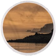 Lifting Fog At Sunrise On Campobello Coastline Round Beach Towel
