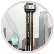 Lifting Fog On Dallas Texas Round Beach Towel