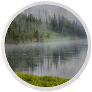Lifting Fog On The Yellowstone River Round Beach Towel