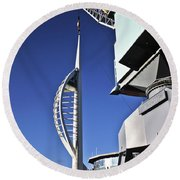 Lifting Portsmouth's Spinnaker Tower Round Beach Towel