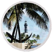 Light And Anchor Round Beach Towel