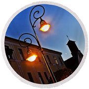Light And Moon In B.bystrica Round Beach Towel