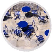 Light And Shadow In Hydra Island Round Beach Towel
