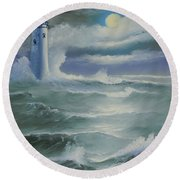 Light At Sea Round Beach Towel
