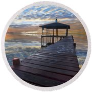 Light At The Lake Round Beach Towel