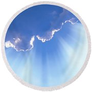 Light Beams From Cloud Round Beach Towel
