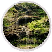 light flow at Cathedral Falls Round Beach Towel