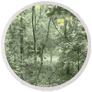 Light Forest Scene Round Beach Towel