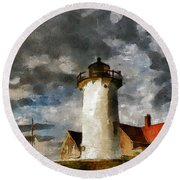 Light House In A Storm Round Beach Towel