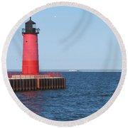 Light House Lake Michigan Round Beach Towel