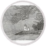 Light House On San Juan Island Lime Point Lighthouse Round Beach Towel