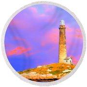Light House Onthatcher Island Round Beach Towel