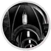 Light In The Basilica Round Beach Towel