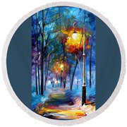 Light Of Luck - Palette Knife Oil Painting On Canvas By Leonid Afremov Round Beach Towel
