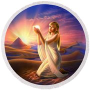 Light Of The Sands Round Beach Towel