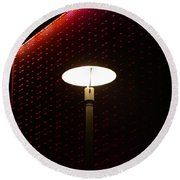 Light On At The Museum Round Beach Towel