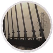 Light On The Bridge Round Beach Towel