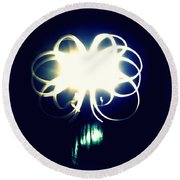 Light Painting Flower Round Beach Towel