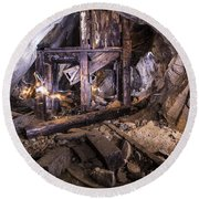 Light Painting In A Gold Mine 2 Round Beach Towel