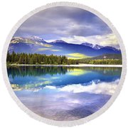 Light Play At Lake Annette Round Beach Towel