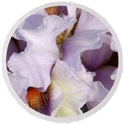 Light Purple Irises 2 Round Beach Towel